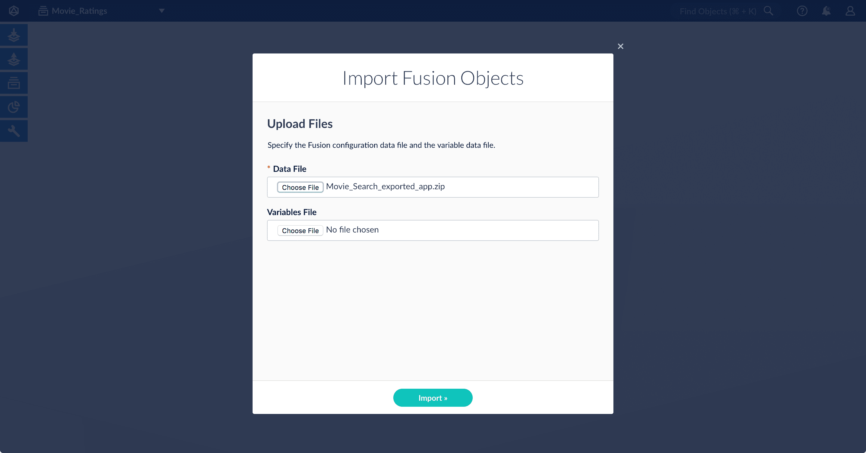 Import Objects Window