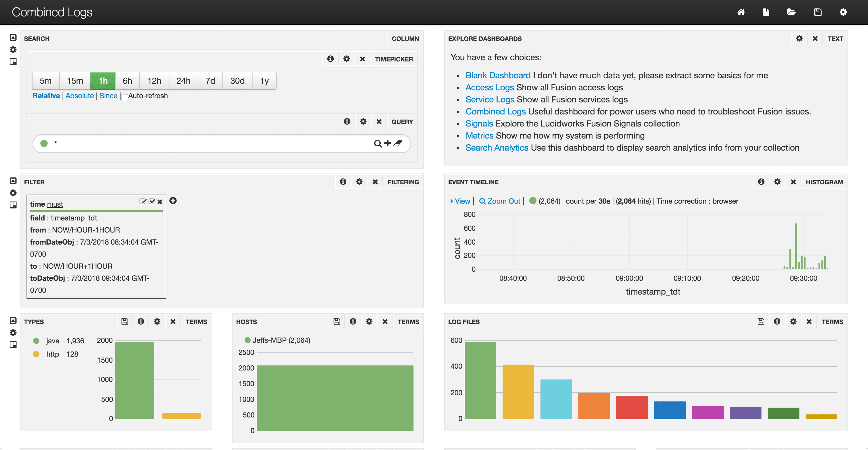 Combined Logs dashboard