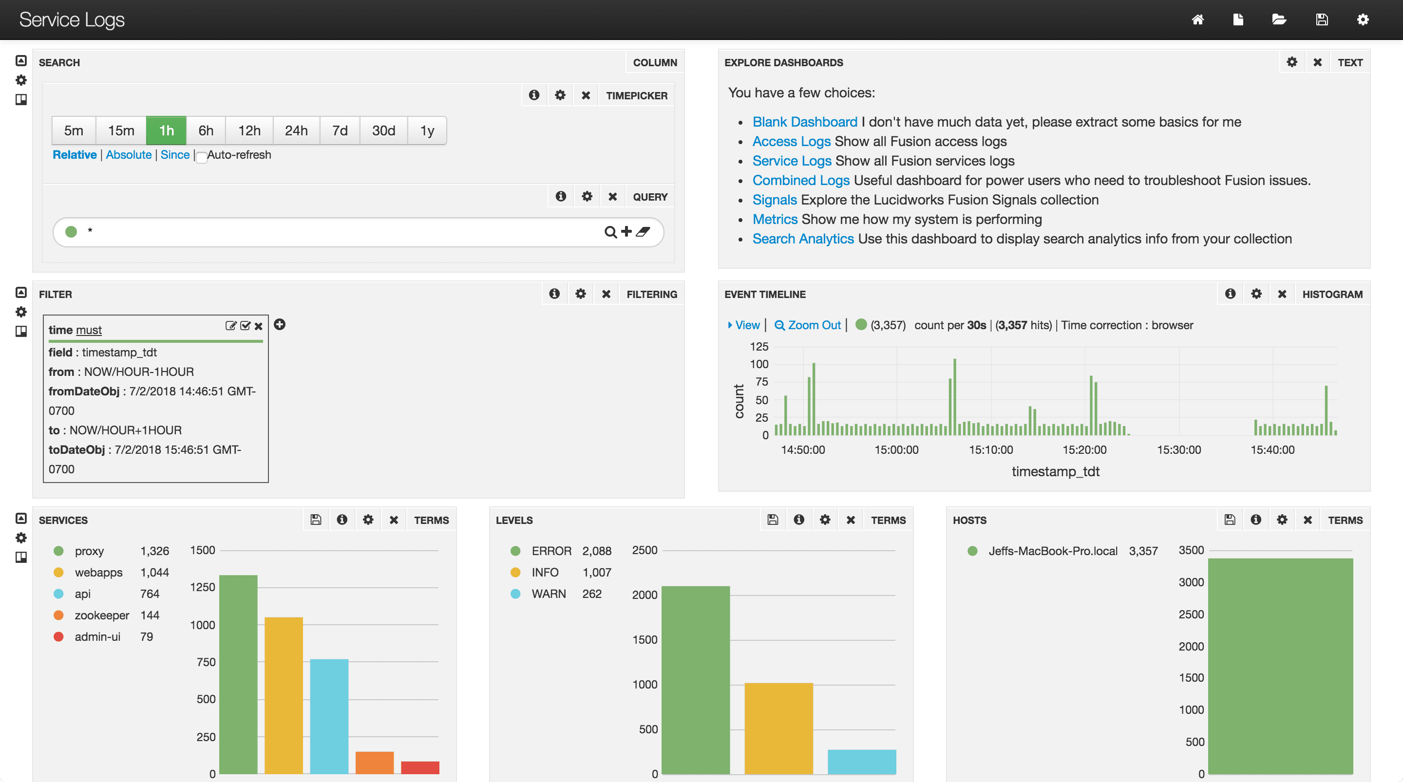 Service Logs dashboard