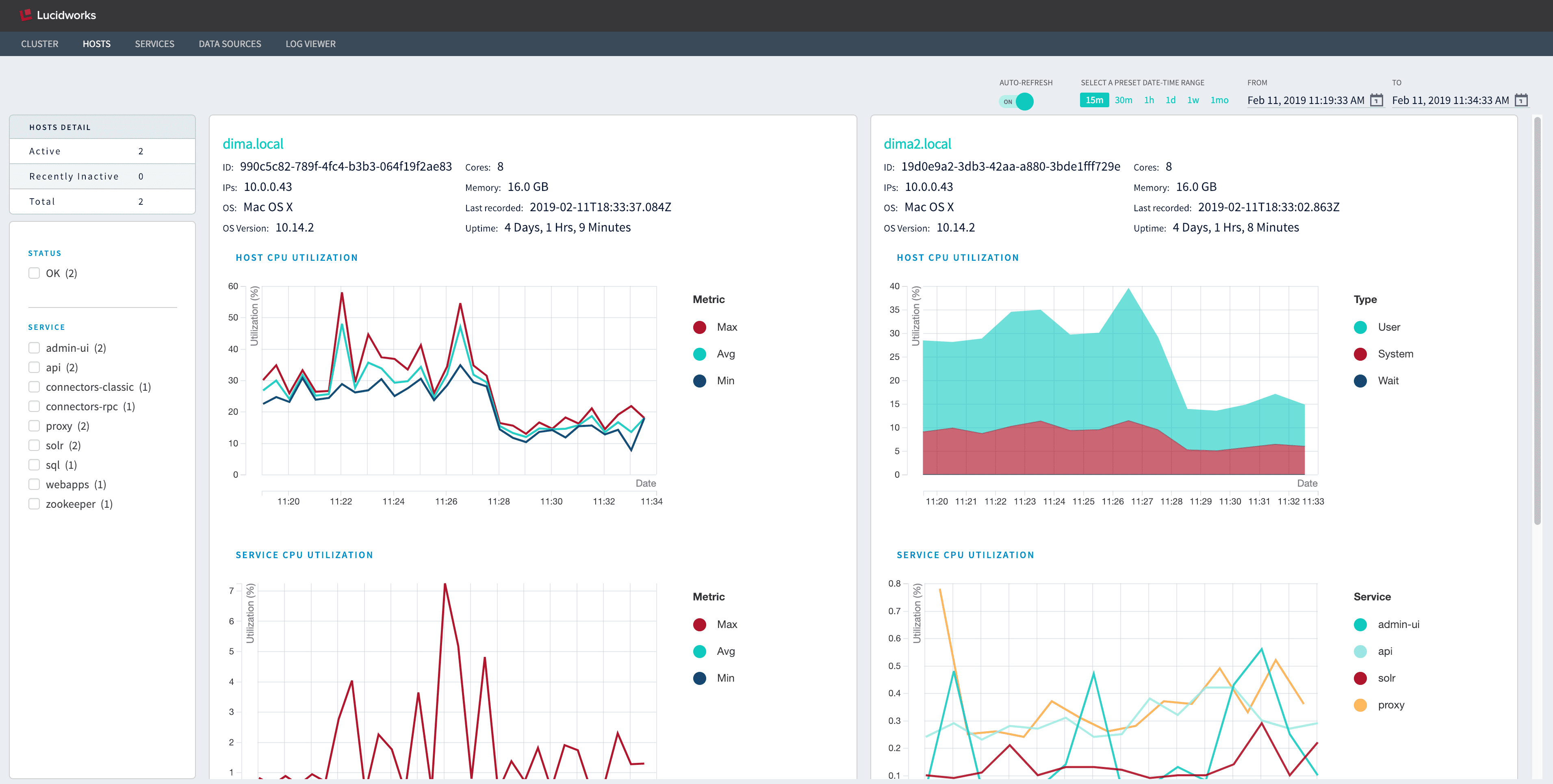 DevOps Center Hosts dashboard