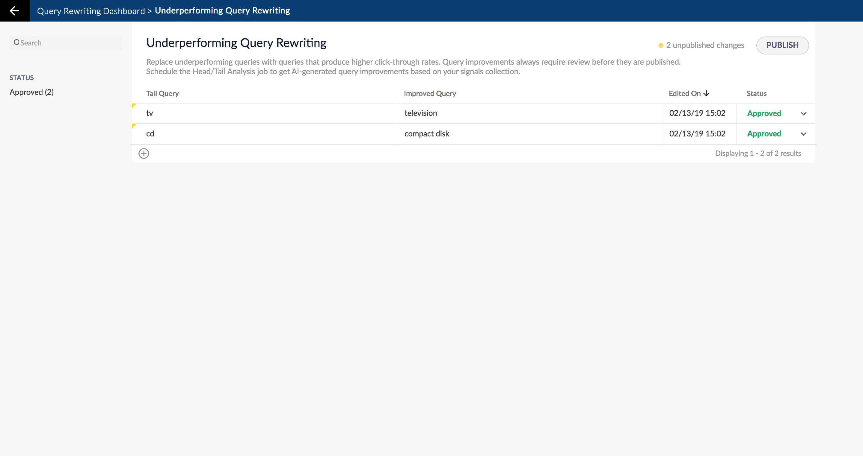 Underperforming Queries screen