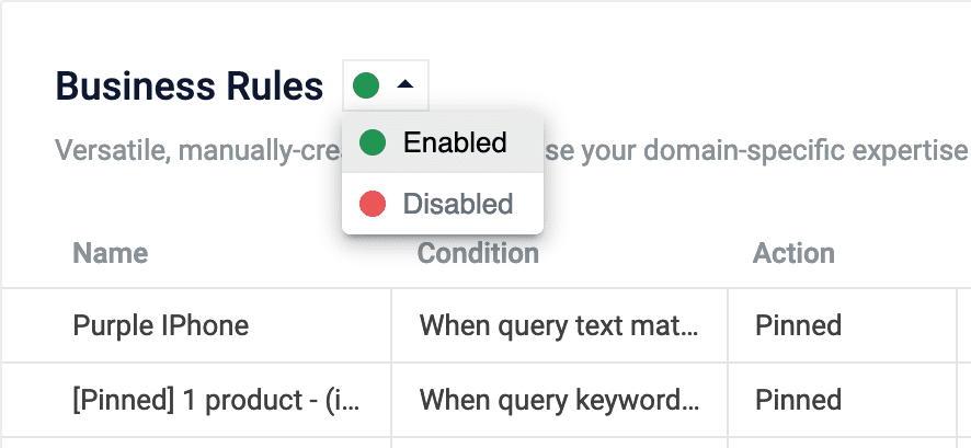 Enable or disable rule types